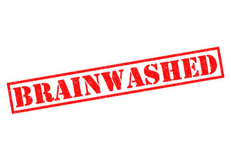 brainwash: BRAINWASHED red Rubber Stamp over a white background.