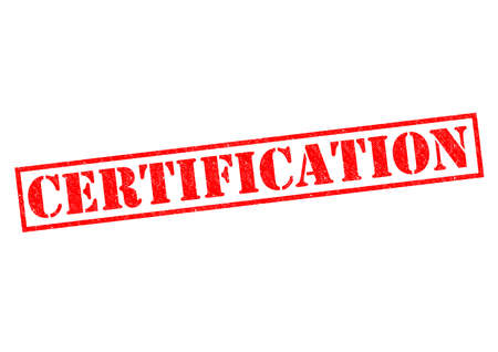 authentification: CERTIFICATION red Rubber Stamp over a white background. Stock Photo