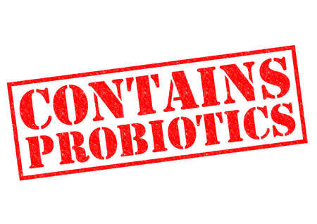 CONTAINS PROBIOTICS red Rubber Stamp over a white background. Stock Photo - 26101363