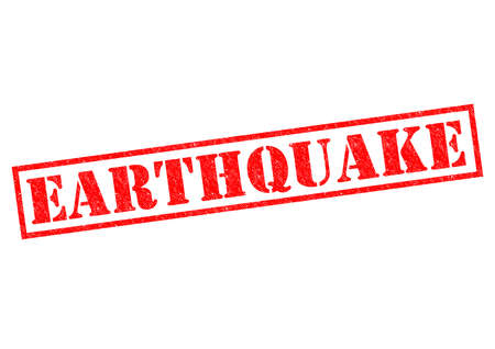 EARTHQUAKE red Rubber Stamp over a white background. Stock Photo - 26101366