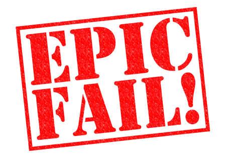 EPIC FAIL! rode rubber stempel op een witte achtergrond.