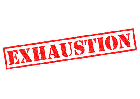 burn out: EXHAUSTION red Rubber Stamp over a white background.