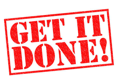done: GET IT DONE! red Rubber Stamp over a white background.