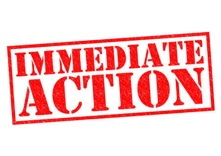 immediate: IMMEDIATE ACTION red Rubber Stamp over a white background. Stock Photo