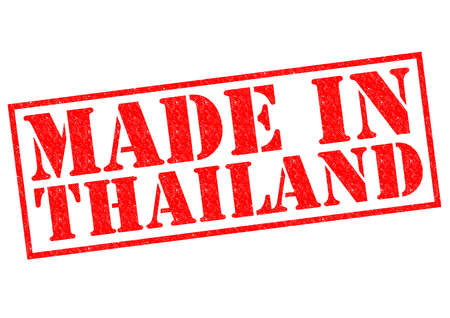 MADE IN THAILAND red Rubber Stamp over a white background. photo