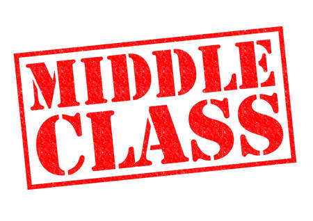middle class: MIDDLE CLASS red Rubber Stamp over a white background. Stock Photo