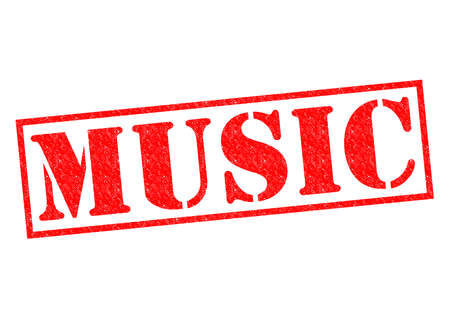 MUSIC red Rubber Stamp over a white background. photo