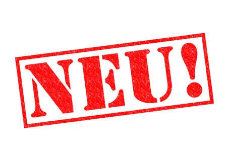 NEU!(ドイツ語) に新しい赤いゴム製スタンプ白い背景の上。 写真素材