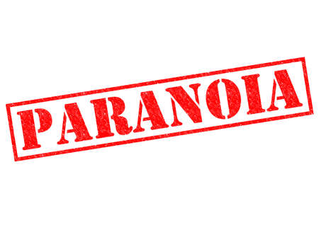 paranoia: PARANOIA red Rubber Stamp over a white background. Stock Photo