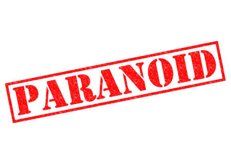 paranoid: PARANOID red Rubber Stamp over a white background. Stock Photo