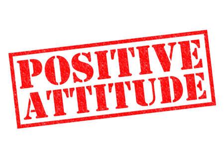 actitud positiva: Goma roja ACTITUD POSITIVA sello sobre un fondo blanco.