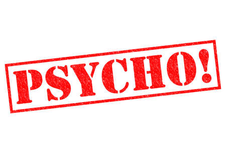 psychoanalysis: PSYCHO! red Rubber Stamp over a wbite background. Stock Photo