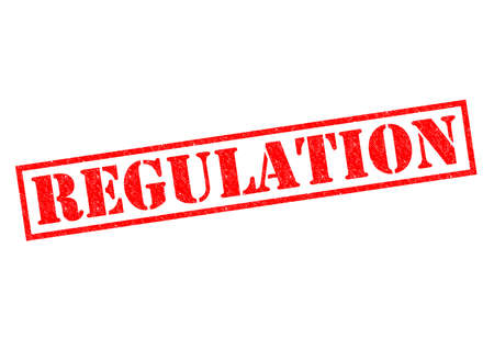 regulate: REGULATION red Rubber Stamp over a white background.