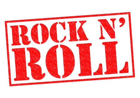 ROCK N ROLL red Rubber Stamp over a white background.