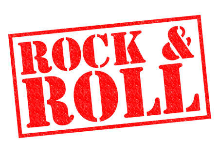 ROCK & ROLL red Rubber Stamp over a white background. photo