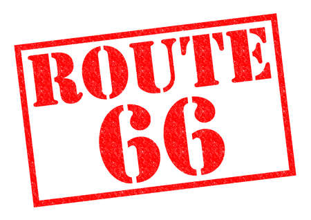 ROUTE 66 red Rubber Stamp over a white background. photo