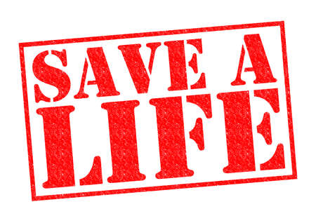 SAVE A LIFE red Rubber Stamp over a white background. photo
