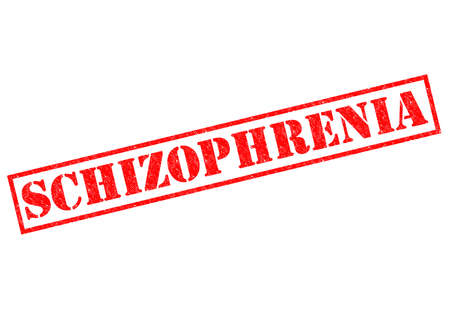 kooky: SCHIZOPHRENIA red Rubber Stamp over a white background.