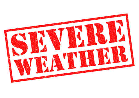 severe weather: SEVERE WEATHER red Rubber Stamp over a white background.