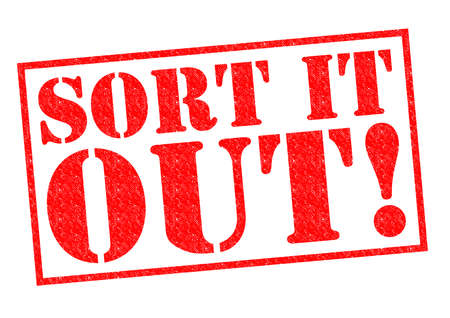 SORT IT OUT! red Rubber Stamp over a white background. photo