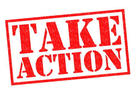 TAKE ACTION rode Rubber Stamp over een witte achtergrond.