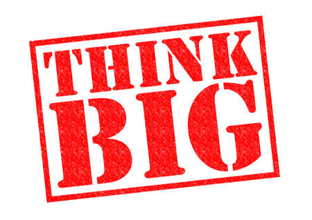 THINK BIG red Rubber Stamp over a white background. photo