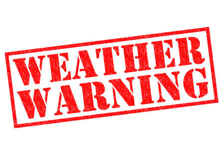 WEATHER WARNING red Rubber Stamp over a white background. photo