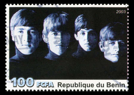 postage stamp: REPUBLIQUE DU BENIN - CIRCA 2003: A postage stamp portraying an image of The Beatles, circa 2003. Editorial