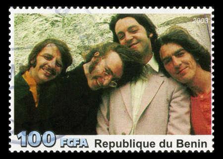 REPUBLIQUE DU BENIN - CIRCA 2003: A postage stamp portraying an image of The Beatles, circa 2003.