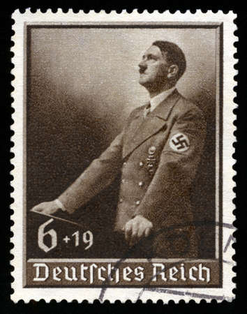 GERMANY - CIRCA 1939: A vintage German Reich Postage Stamp portraying an image Adolf Hitler, circa 1939.