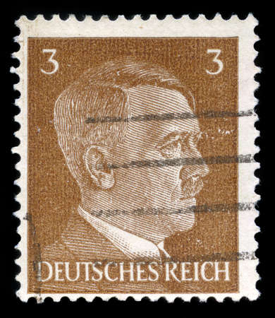 GERMANY - CIRCA 1941: A vintage German Reich Postage Stamp portraying an image Adolf Hitler, circa 1941.