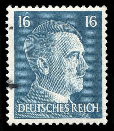 GERMANY - CIRCA 1942: A vintage German Reich Postage Stamp portraying an image Adolf Hitler, circa 1942.