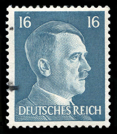 GERMANY - CIRCA 1942: A vintage German Reich Postage Stamp portraying an image Adolf Hitler, circa 1942. Editorial
