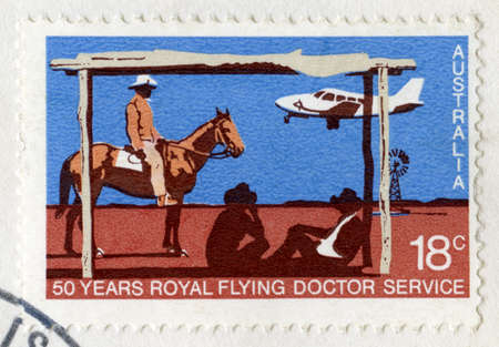 AUSTRALIA - CIRCA 1978: An Australian Postage Stamp celebrating the 50 Years of the Royal Flying Doctor Service, circa 1978. photo
