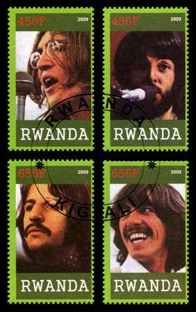 RWANDA, AFRICA - CIRCA 2009: A postage stamp from Rwanda portraying an image of John Lennon of The Beatles, circa 2009.