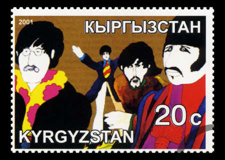 john lennon: KYRGYZSTAN - CIRCA 2001: A Postage stamp from Kyrgyzstan portraying an image of The Beatles from The Yellow Submarine movie, circa 2001.