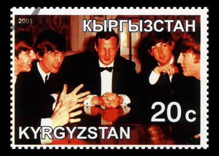 KYRGYZSTAN - CIRCA 2001: A Postage stamp from Kyrgyzstan portraying an image of The Beatles with their manager Brian Epstein, circa 2001.