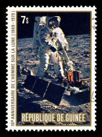 REPUBLIC OF GUINEA - CIRCA 1979: A postage stamp from the Republic of Guinea commemorating the 10th Anniversary of the Apollo 11 Moon Landing, circa 1979.