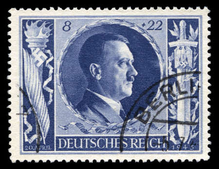 GERMANY - CIRCA 1943: A vintage German Reich Postage Stamp portraying an image Adolf Hitler, circa 1943.
