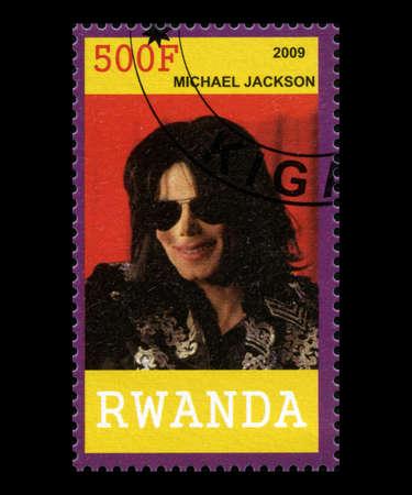 RWANDA, AFRICA - CIRCA 2009: A postage stamp from Rwanda of music legend Michael Jackson, circa 2009.