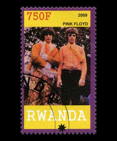 pink floyd: RWANDA, AFRICA - CIRCA 2009: A postage stamp from Rwanda of the band Pink Floyd, circa 2009. Editorial