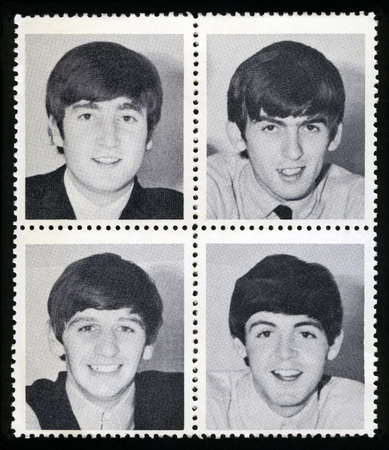 rock n: UNITED KINGDOM - CIRCA 1963: Vintage Merchandise stamps each portraying an image of a member of The Beatles, circa 1963.