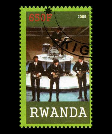 RWANDA, AFRICA - CIRCA 2009: A postage stamp from Rwanda portraying an image of The Beatles, circa 2009.