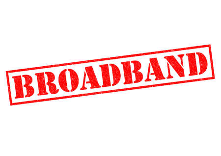broadband: BROADBAND red Rubber Stamp over a white background.