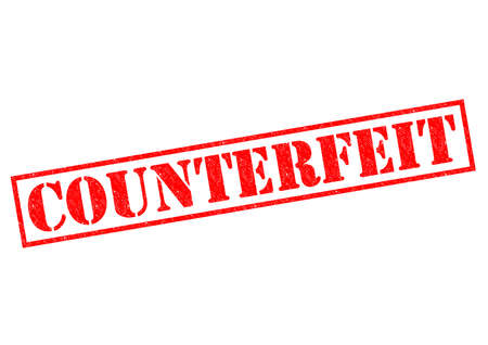 counterfeit: COUNTERFEIT red Rubber Stamp over a white background.