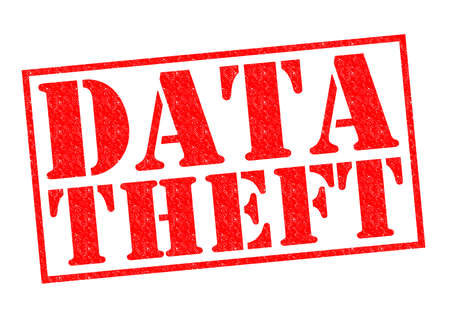 data theft: DATA THEFT red Rubber Stamp over a white background. Stock Photo