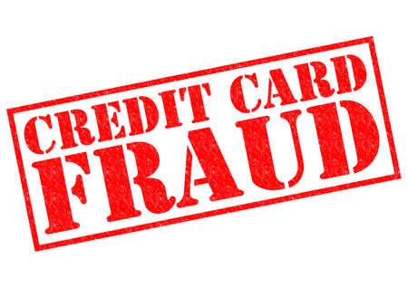 fraudulent: CREDIT CARD FRAUD red Rubber Stamp over a white background. Stock Photo