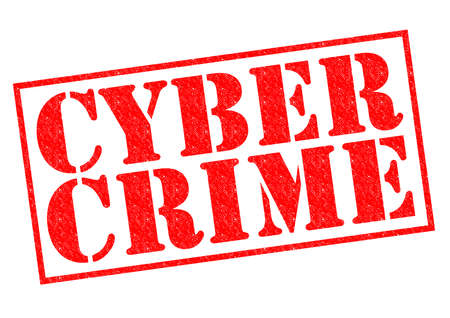 cyber crime: CYBER CRIME red Rubber Stamp over a white background.