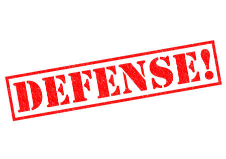 contend: DEFENSE! red Rubber Stamp over a white background.