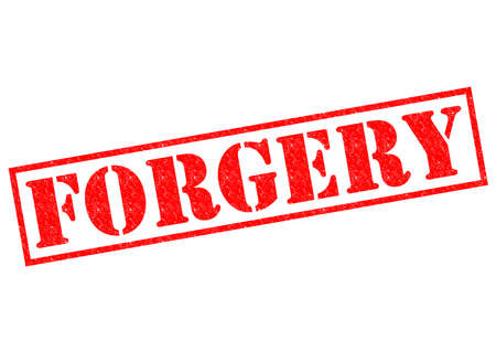 copied: FORGERY red Rubber Stamp over a white background.